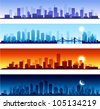 cityscapes at different time of the day - stock vector