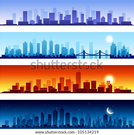 cityscapes at different time of the day