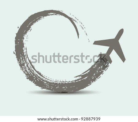 civil airplane paths - stock vector
