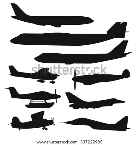 Civil aviation travel passenger air plane black vector silhouette. Civil commercial airplane flying vector illustration.Travel plane black icons isolated white background.Cargo transportation airplane - stock vector
