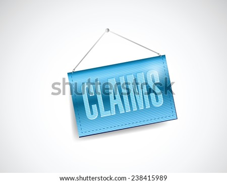 claims hanging sign illustration design over a white background - stock vector