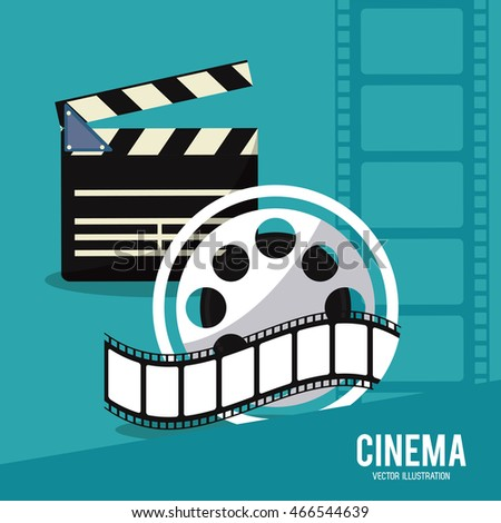 clapboard film strip reel movie film going to cinema icon. Colorful illustration. Vector graphic