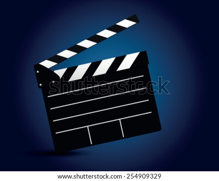 clapper board on on a blue background - stock vector