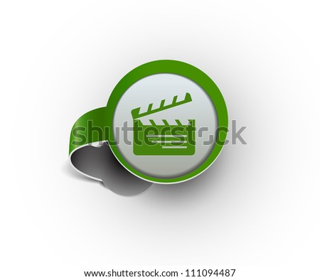 clapper boards hanging sticker icon, vector