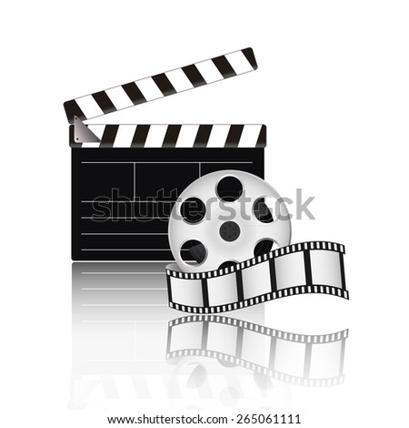 Clapperboard and film tape