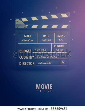 Clapping board, movie information, eps 10 - stock vector