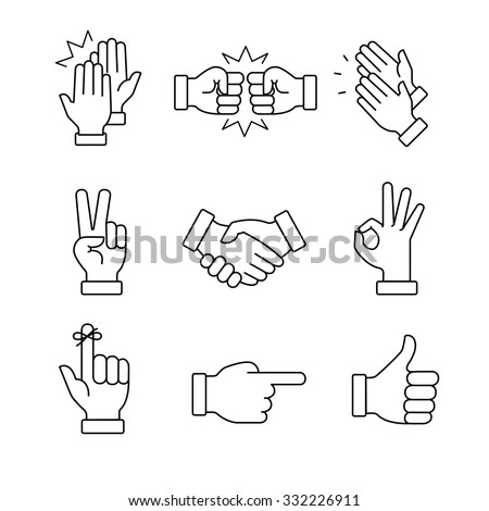 Clapping hands and other gestures. Thin line art icons set.Black vector symbols isolated on white. - stock vector