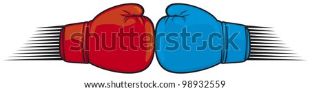 clash of boxing gloves - stock vector