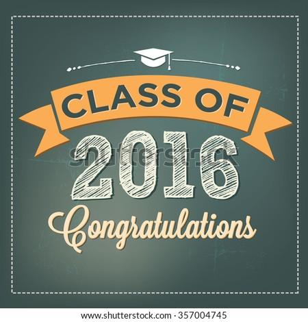 Class of 2016 Congratulations Graduation Vector   Student Graduation - stock vector