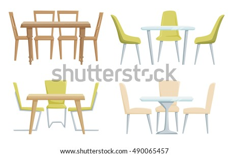 Classic Modern Tables Chairs Furniture Office Stock Vector