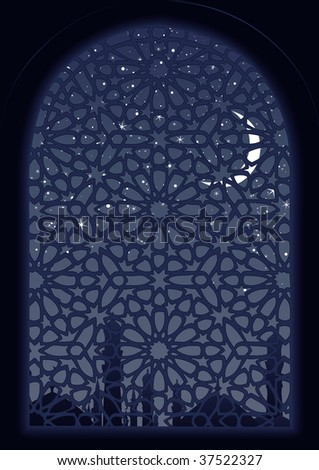 Classic arab window view at midnight. - stock vector