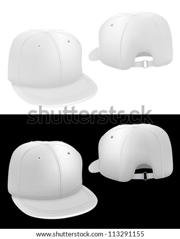 Classic baseball hat template. Front and back. - stock vector