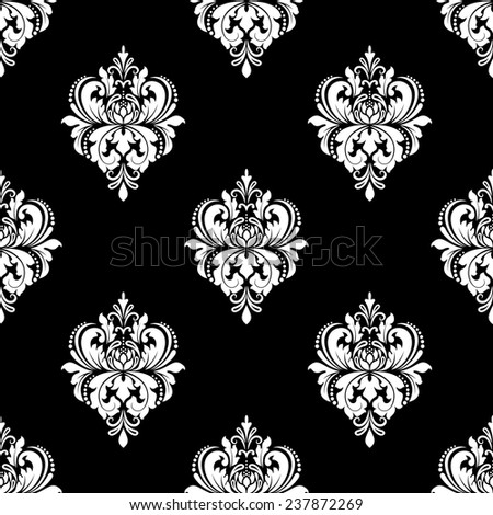Classic black and white floral seamless design with abstract ornate flowers for wallpaper and textile design - stock vector