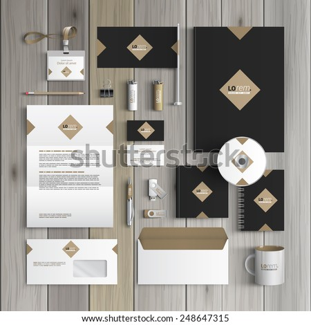 Classic black corporate identity template design with rhombus. Business stationery - stock vector