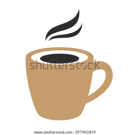 Classic black espresso coffee sign. Hot with steam. Vector illustration. - stock vector