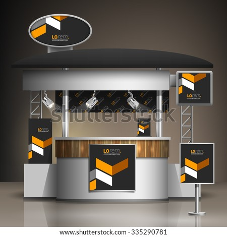 Classic black exhibition stand design with yellow geometric elements. Booth template. Corporate identity - stock vector
