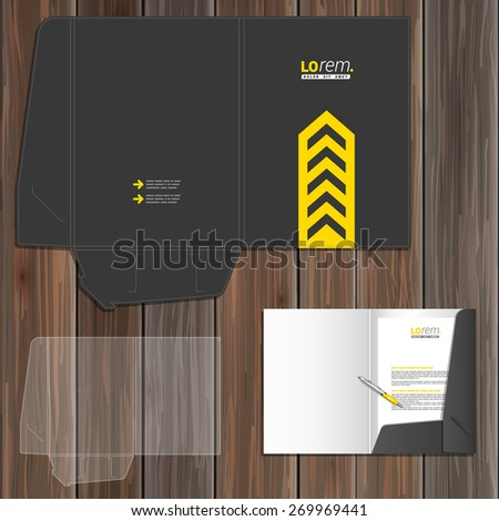 Classic black folder template design for corporate identity with central yellow arrow. Stationery set - stock vector
