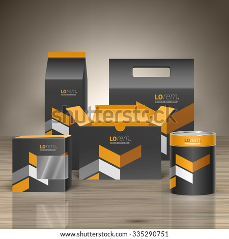 Classic black promotional package design for corporate identity with yellow geometric elements. Stationery set - stock vector
