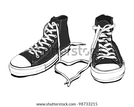 Classic Black&White Sneakers With Lovely Heart (good layer organized, fully editable, isolated on white) - stock vector