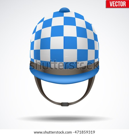 Classic Blue Checkered Jockey helmet for horseriding athlete. Front view of Sport equipment. Vector Illustration isolated on a white background.