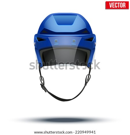 Classic blue Ice Hockey Helmet with glass visor. Sports Vector illustration isolated on white background. - stock vector