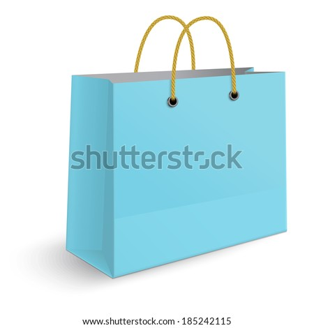 Classic blue paper shopping bag with yellow rope grips isolated on white background. View from one side. - stock vector