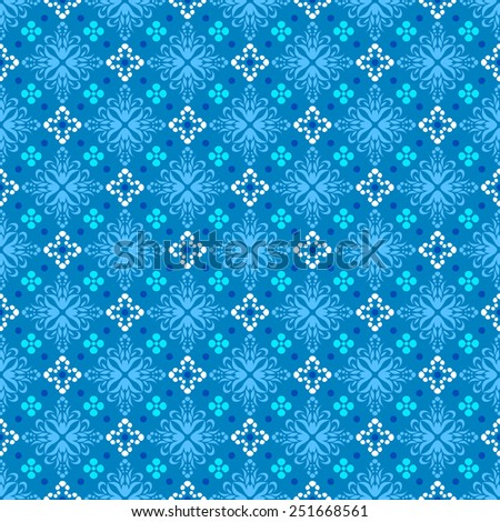Classic blue seamless background with a grid of the floral elements and polka dots - stock vector