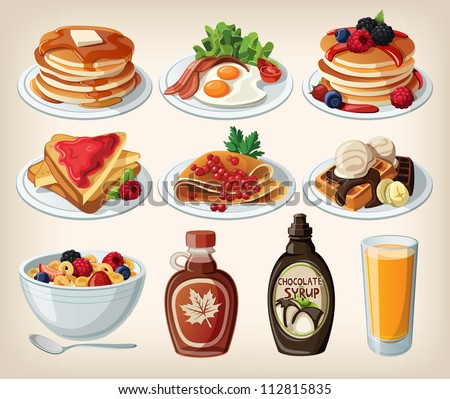 Classic breakfast cartoon set with pancakes, cereal, toasts and waffles - stock vector