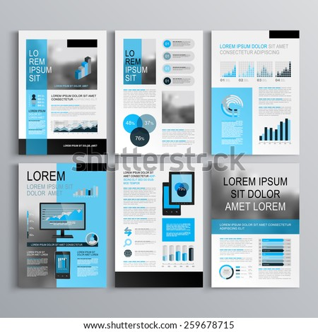 Classic brochure template design with blue shapes. Cover layout and infographics - stock vector