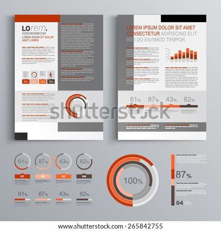 Classic brochure template design with gray and red shapes. Cover layout and infographics - stock vector