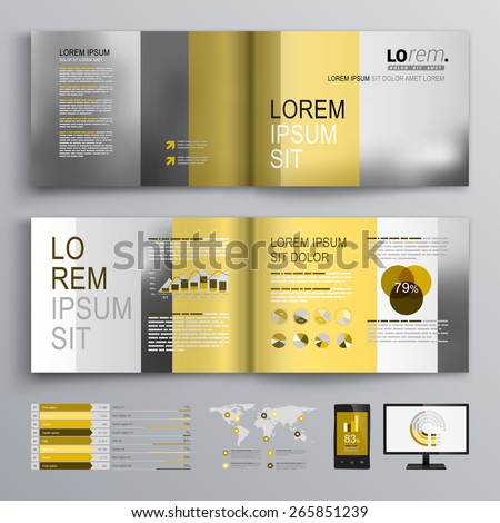 Classic brochure template design with yellow and gray shapes. Cover layout and infographics - stock vector