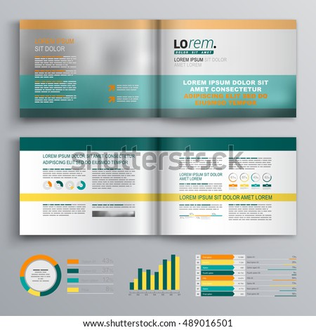 Classic business brochure template design with green and orange shapes. Cover layout and infographics