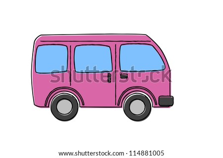 Classic Camping Microbus / Bus on blackboard - stock vector