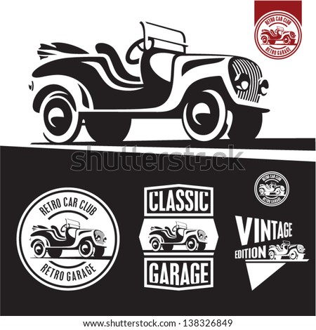 Classic car isolated vector. Retro style car garage labels. - stock vector