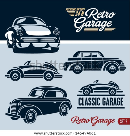Classic cars. Retro cars garage. Set 2. Mechanic on duty 24 hours. - stock vector