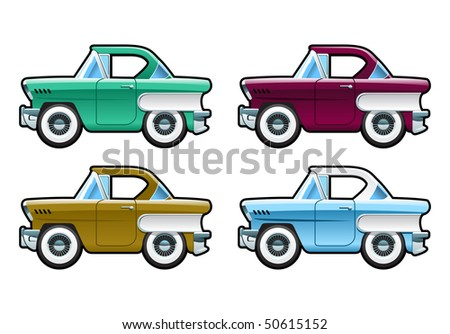 Classic Cars - 60s. Simple gradients only - no gradient mesh. - stock vector