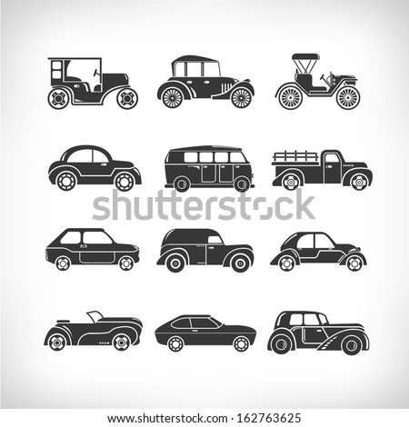 classic cars, vintage car icons - stock vector