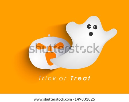 Classic character of ghost and pumpkin on orange background, Can be use as poster, flyer or banner for Trick or Treat Halloween Party.   - stock vector