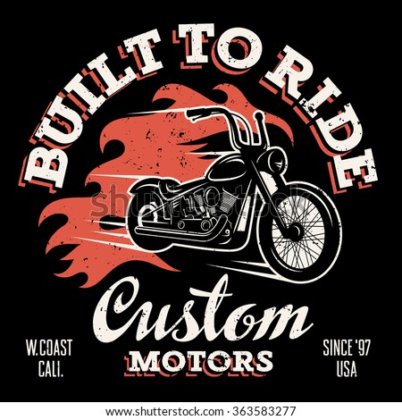 Classic chopper motorcycle fire flame tshirt stock vector for West coast motor inc