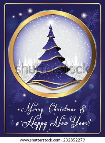 Classic Christmas and New Year greeting card. Corporate Card for print, containing a Christmas tree, snowflakes, Christmas decorations. Print colors used.  - stock vector