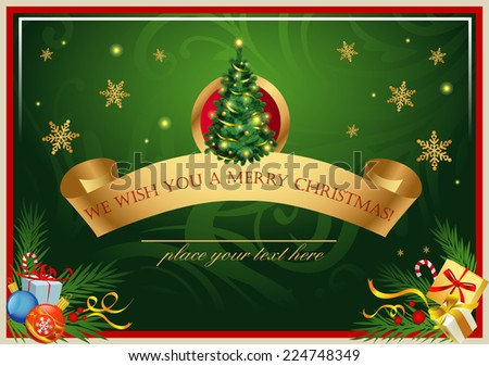 Classic Christmas card  - stock vector