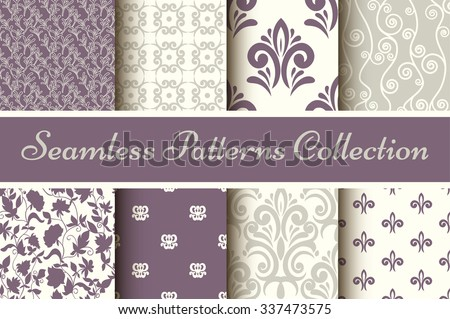 Classic collection of seamless patterns: damask, abstract in pastel violet and grey-2