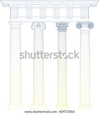 classic columns - stock vector