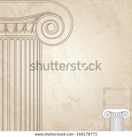 Classic columns seamless background. Roman column. Illustration on white background for design  sketch  - stock vector