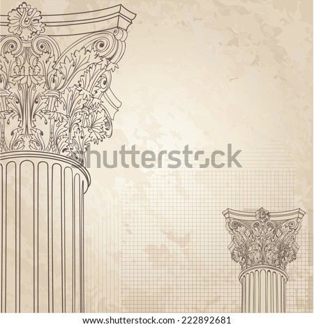 Classic columns seamless background. Roman corinthian column. Illustration on old paper background for design sketch  - stock vector
