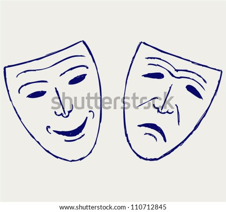 Classic comedy-tragedy theater masks - stock vector
