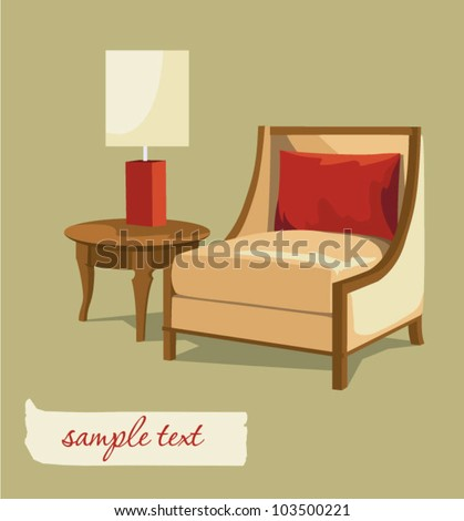 classic comfortable chair and table - stock vector