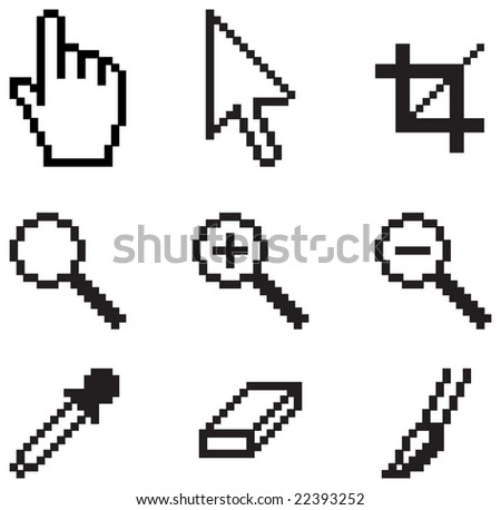 Classic computer tools on white background. - stock vector