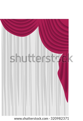 Classic Curtains. Curtains Drawn In The Vector. Window Decoration