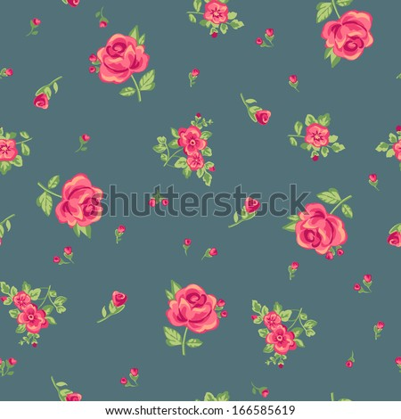 classic ditsy rose print ~ seamless background - stock vector